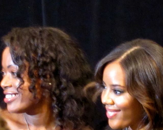 Tracy Reese poses with Angela Simmons, pre-show