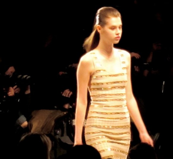 Bandage dress lined with gold