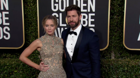 Emily Blunt and John Krasinski at the Golden Globes