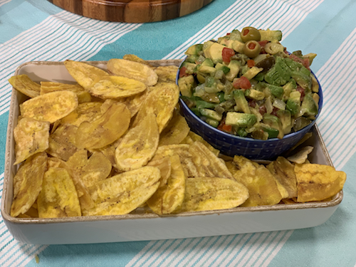 Guac a la Veracruzana with Plantain Chips