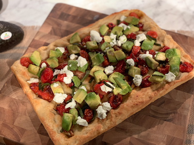 Roasted Tomato and Poblano Focaccia with Avocado and Goat Cheese
