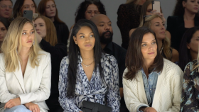 Katie Holmes and Chanel Iman at Elie Tahari s Spring 2020 NYFW Show